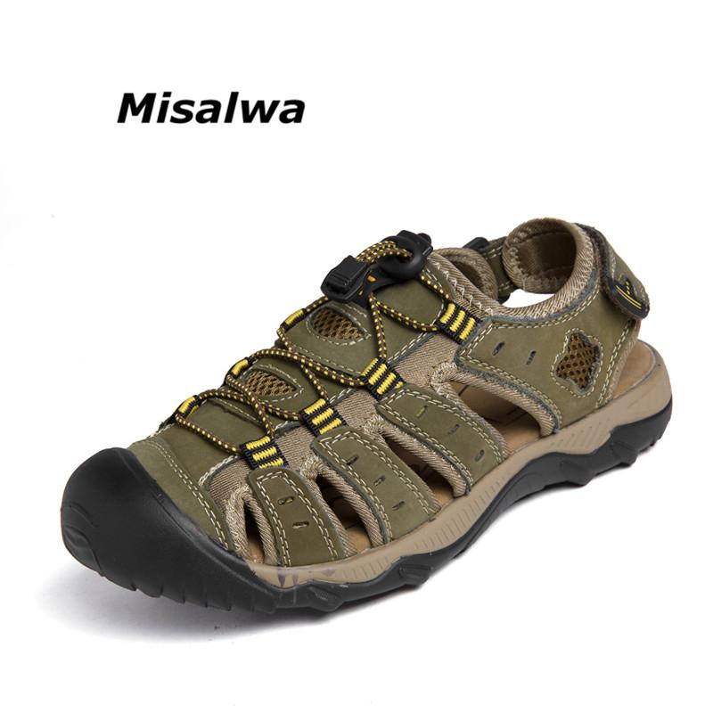7afbfe600f7d Msialwa Classic Men Roman Style Summer Genuine Leather Casual Shoes Beach  Brand Flat Sandals Big Size 38 48 High Quality Khaki High Heel Shoes  Wholesale ...