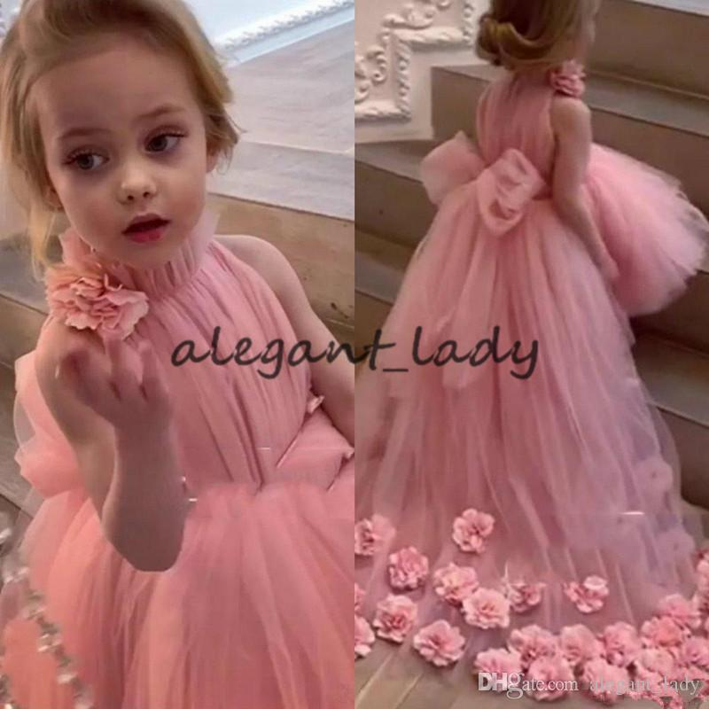 Rose Pink Tutu Flower Girls Dresses With Long Train 2020 Lovely High Neck 3D Floral Little Princess Infant Girls Pageant Dress
