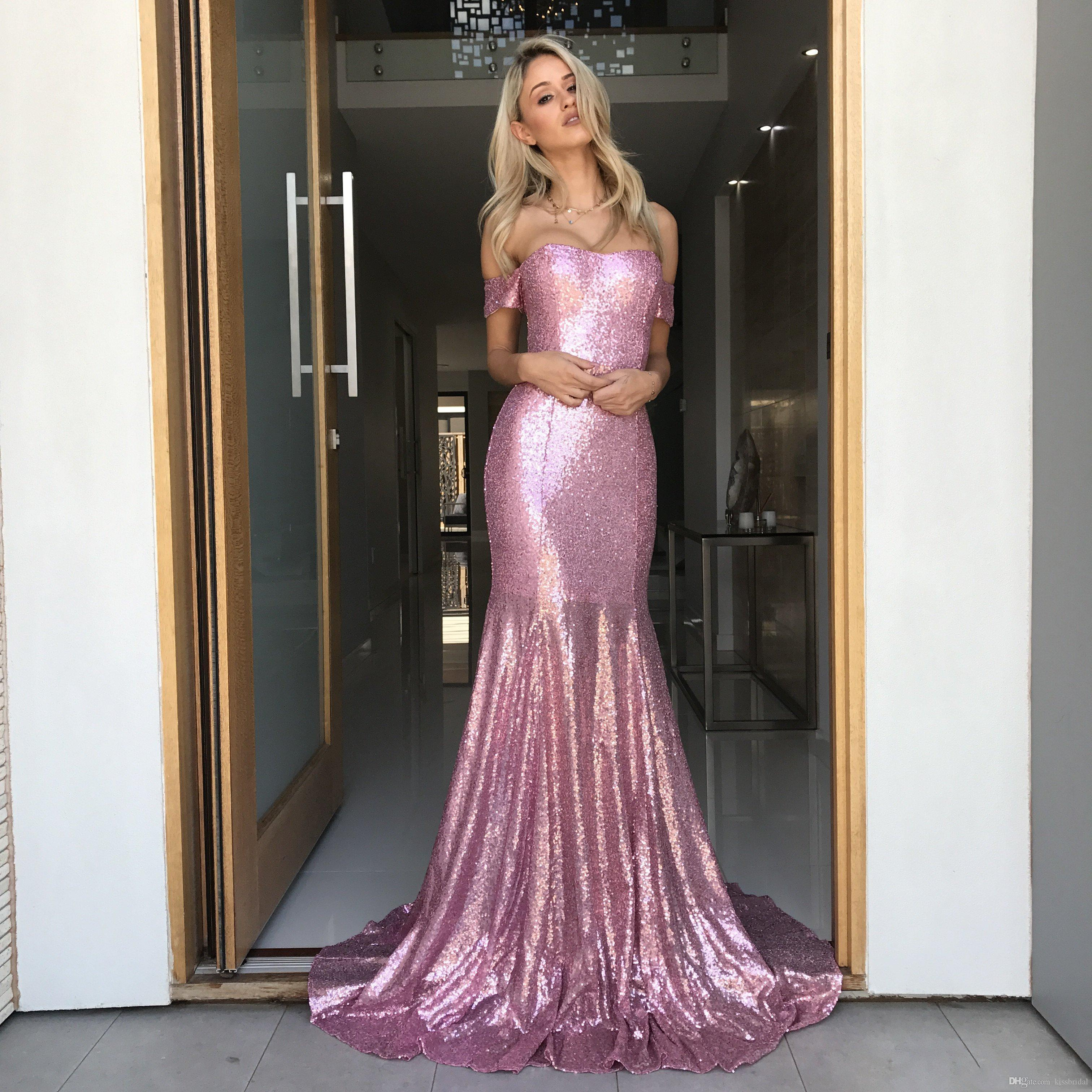 f0e4fe86 Cheap Sequin Prom Dresses 2019 Mermaid Off The Shoulder Pink Appliques Evening  Gowns Cocktail Party Ball Bridesmaid Dress Formal Gown Xo Prom Dresses  Design ...