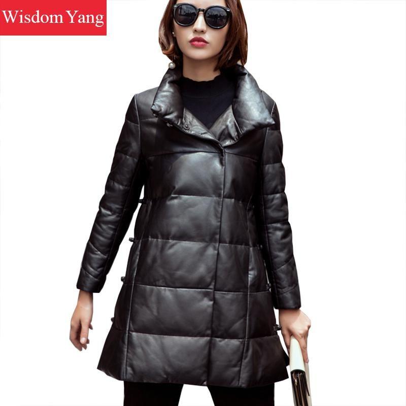 54e403b5f Winter Warm Black Real Sheepskin Genuine Leather Down Coat Long Womens  Oversize Office Ladies Elegant Overcoat Coats Outerwear