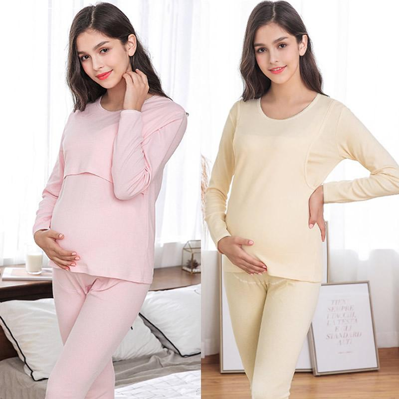 b396e84079 2019 Maternity Pajamas Set Long Sleeve Soft Cotton Solid Pregnant Sleepwear  Nursing Clothes For Breastfeeding Mom Nightgown From Windowplant