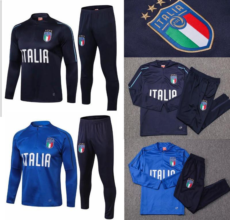buy popular b4161 d33fb Survêtement football Italia tuta italia allenamento kit calcio Chandal 2018  19 italiano allenamento shinny attillato vestito maglione mutanda
