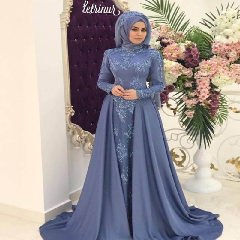 d3782e2b9f Compre Modesto Árabe Saudí Musulmán Vestidos De Noche De Cuello Alto Hijab  Apliques De Encaje Fiesta Larga Vestidos Famosos Vestido De Fiesta Con  Falda ...