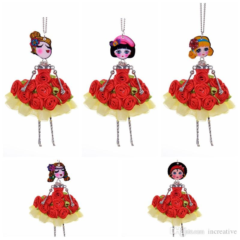 5 Style Red Flower Dress Girl Princess Fairy Doll Necklace Sweater Fabric Crafts Women Jewelry Christmas Gift Dropshipping