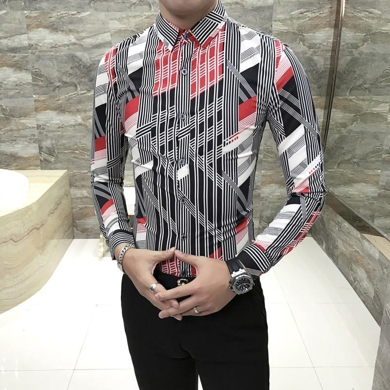 2019 Kemeja Pria Solid Color Fashion Male Hairstyle Shirt Camisa