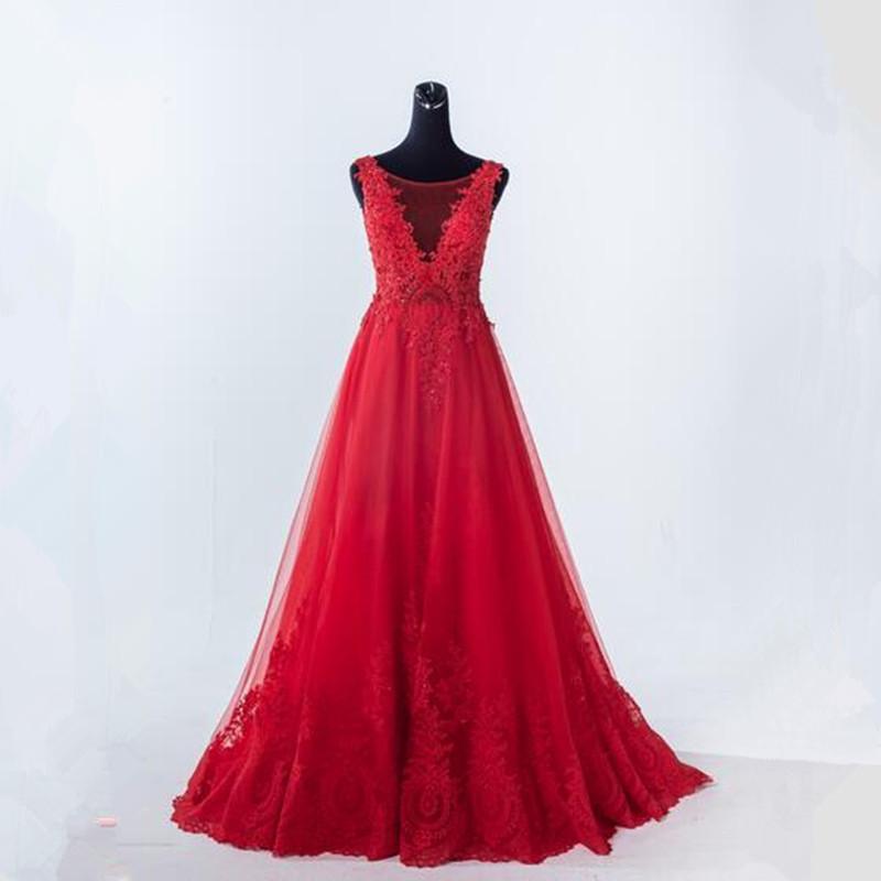 Vestidos de graduacion largos color rojo