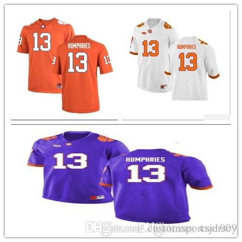 312fc3668 2019 Cheap Custom Clemson Tigers College Football Limited White Purple  Orange 13 Humphries 26 Choice 38 Trapp 47 Spence 67 Huggins Jerseys XS 5XL  From ...