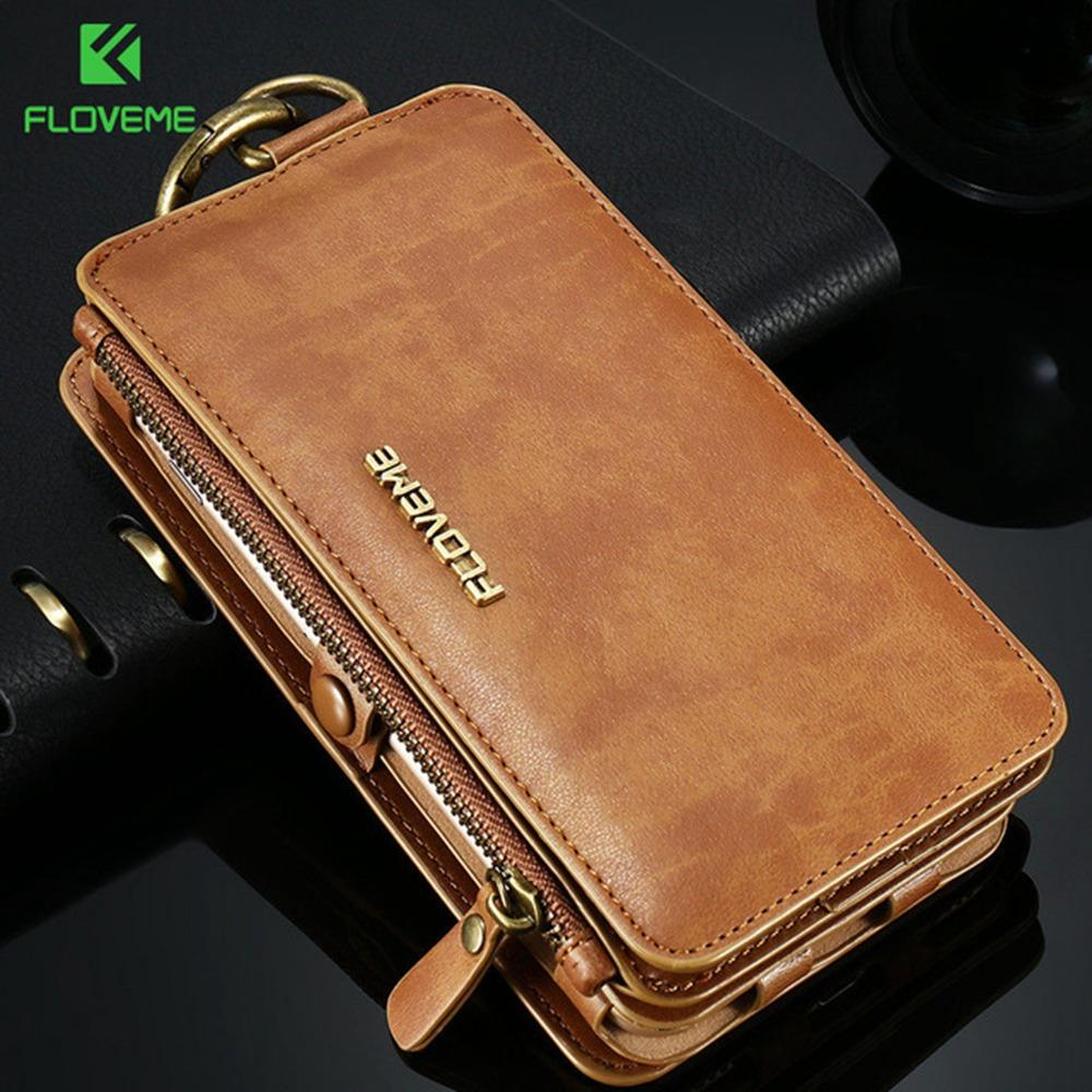 save off 4d4f5 3e36d FLOVEME Luxury PU Leather Wallet Case For iPhone 5s 5 SE 6s 6 7 8 Plus Flip  Stand Back Cases For iPhone X XR XS Max Bags Capinha