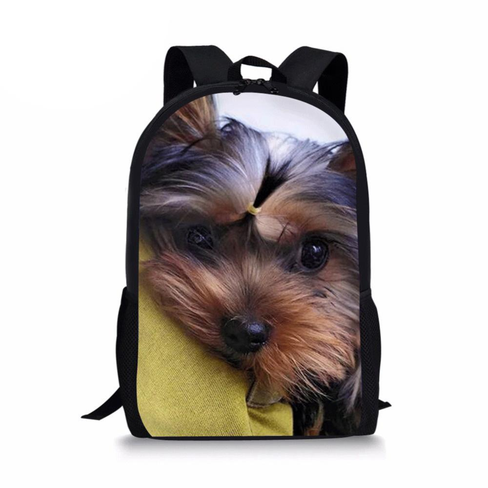 New 3D Animals Yorkshire Terrier Print Backpack For Teenage Children School Bags Women Men Urban Boys Girls Gift Drop Shipping