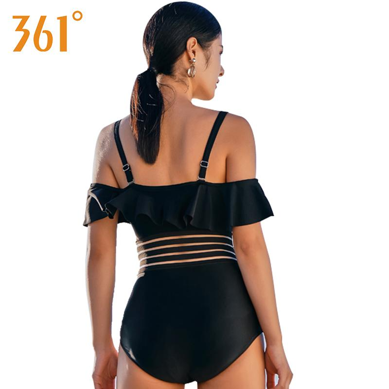 361 Off Shoulder Bikini Ruffle Sexy Bodysuit Black Bathing Suit 2018 Women One Piece Swim Suit Female Swimsuit Ladies Swim