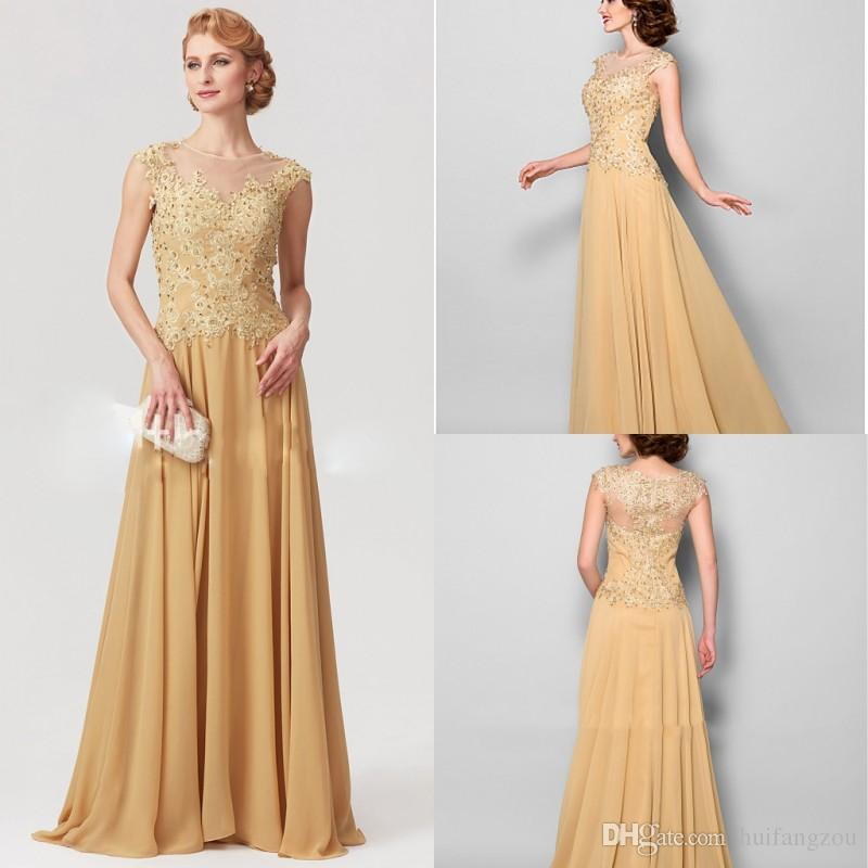 e605316a0b8 Elegant Gold Mother of the Bride Dresses A Line Lace Beaded Plus Size  Chiffon Floor Length Zipper Back Mother s Dress Formal Prom Dresses