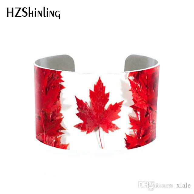 Trendy Maple Leaf Painting Bangle Cuff Autumn Coming Jewelry Canada Sympol Bracelet Adjustable Bangles Men Women Cuffs