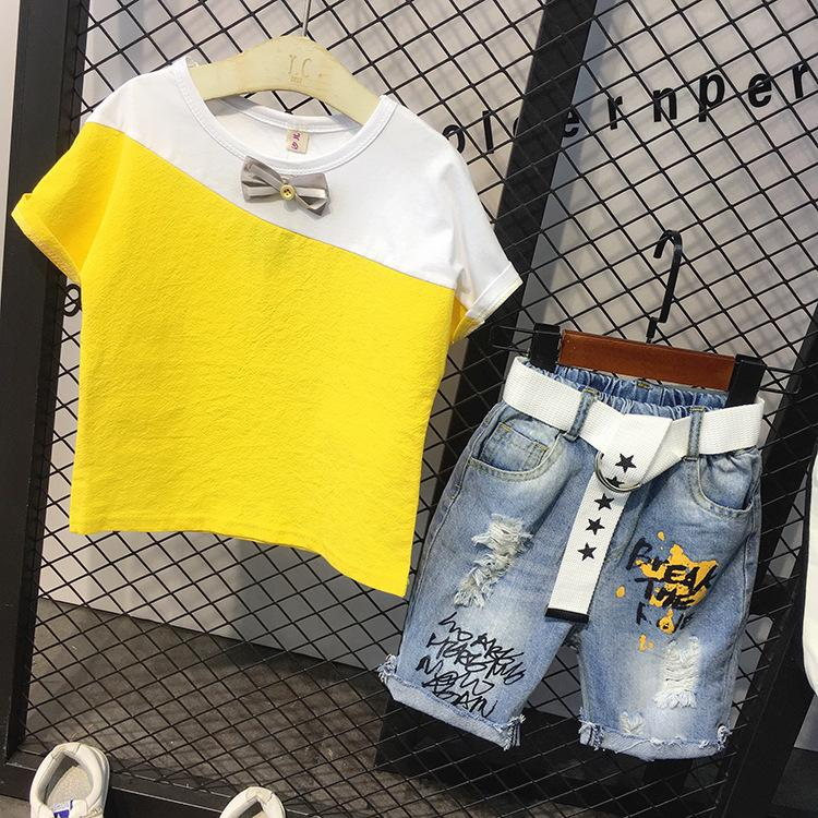 2PCS Boys patchwork clothing set kids summer yellow gray t shirt and ripped denim short set baby all match casual clothes 2-7T