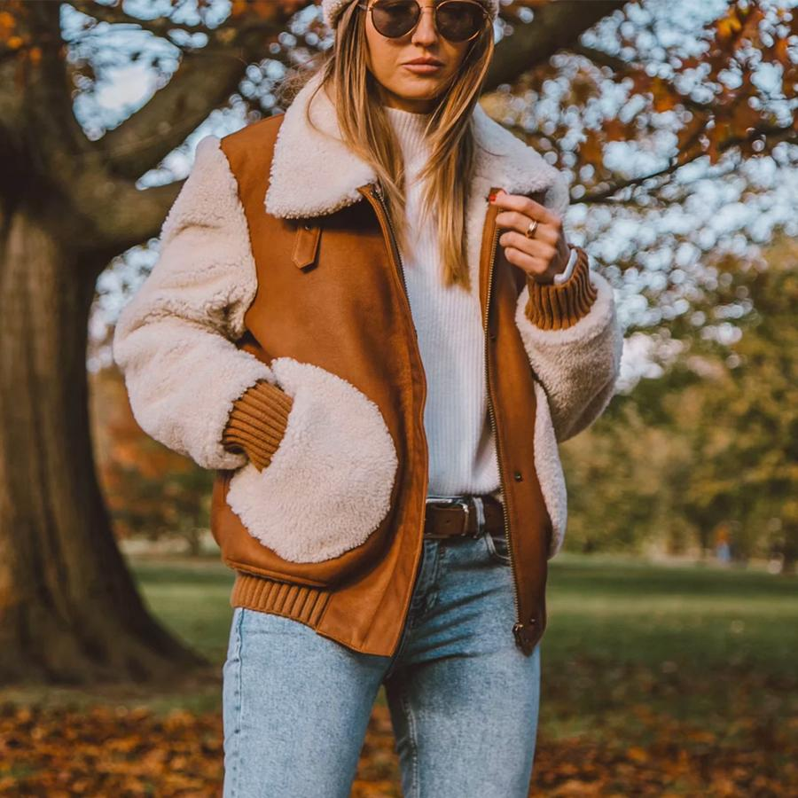 TEELYNN Thick Jacket for women 2019 Suede Spliced lamb Faux fur long sleeve warm Coat short winter jackets Casual Outerwear