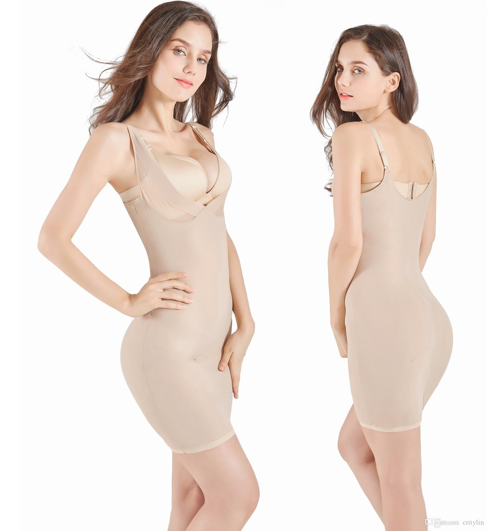 ba3f0ab734 2019 Full Body Shaper Under Dress Slip With Thong Insert Perfect Shapewear  Women Slim   Lift Shaper Corset From Critylin