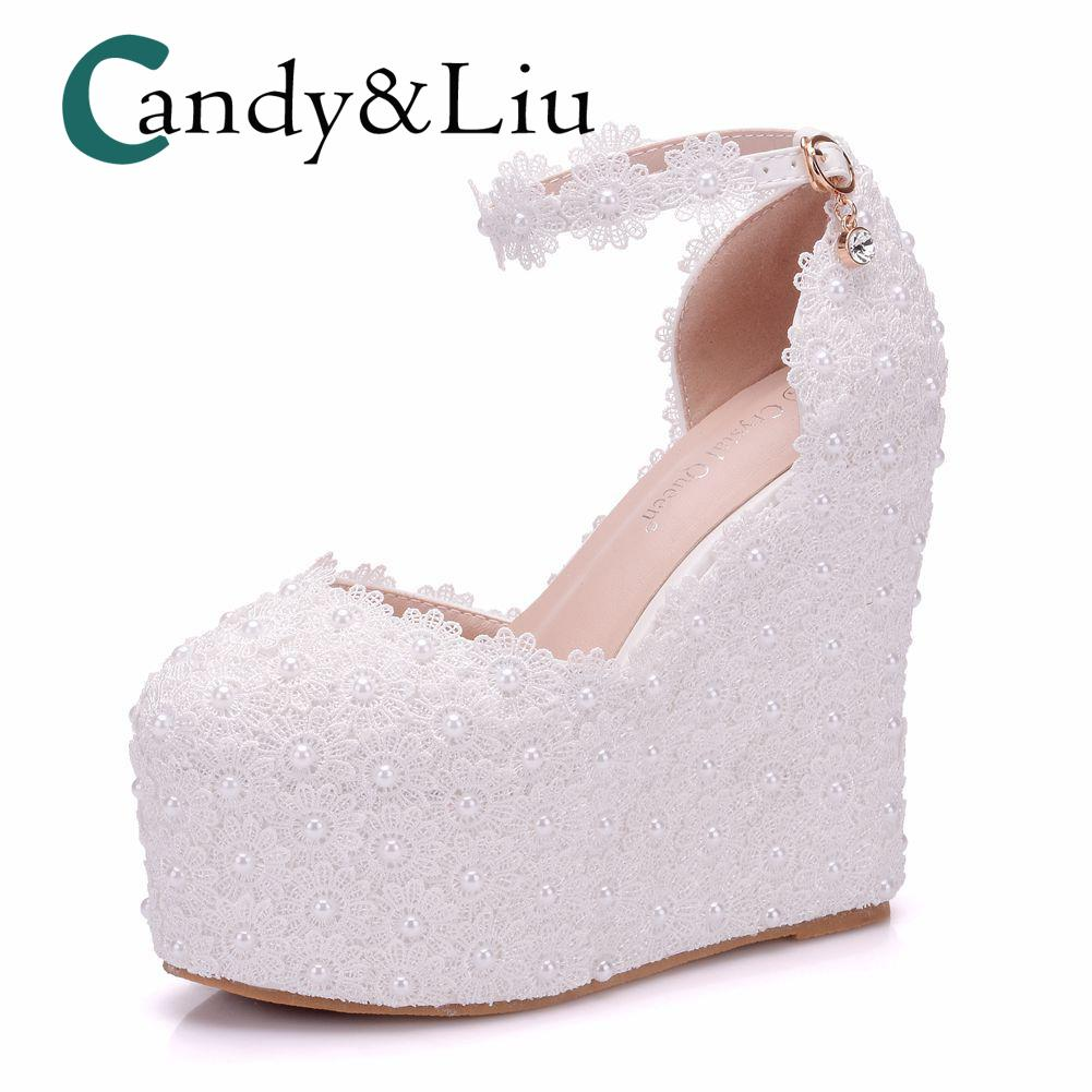 White Pearl Lace Wedding Shoe Beaded Wedges Super High Heel Round Toe  Appliques Women Sandals With Platform For Party Banquet Bridal Shoes Cheap  Shoes From ... 248b9d80e68e