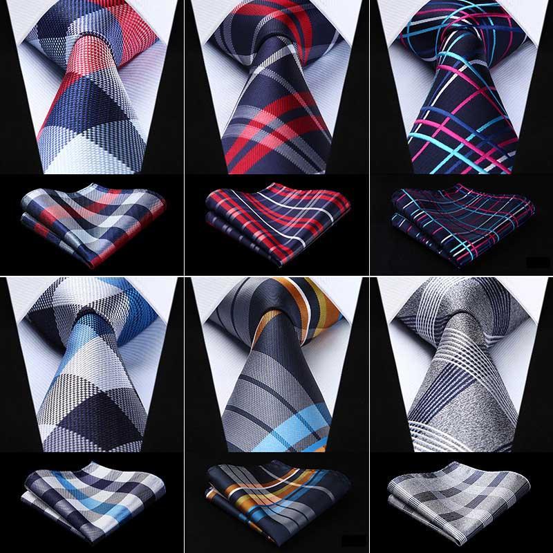 c8ea8a5454e5e Acheter Hisdern Cravate Mouchoir Set Cadeau Classique À Carreaux Pour Hommes  Tissé De Noce Soie Hommes Cravate Poche Carré Gris Or NT3 De $38.11 Du ...