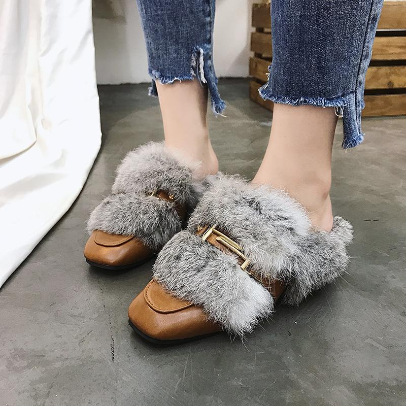 8c0abd6bc68 Buckle Strap Fur Slides Women Short Plush Mules Shoes Lady Furry Slippers  Winter Shoes Sapatos Feminino Footwear 2018 High Heel Boots Pumps Shoes  From ...