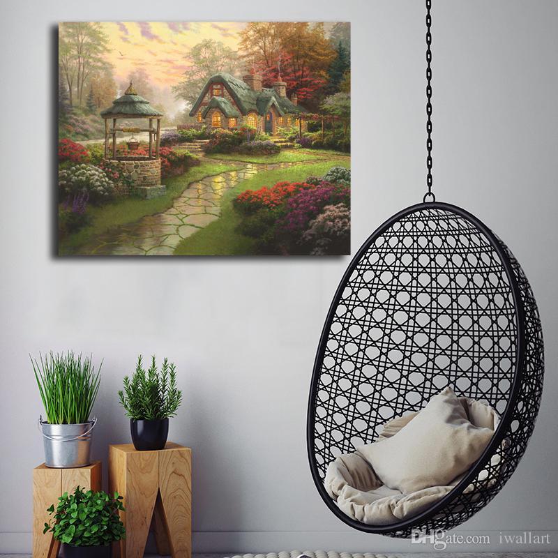 2019 Thomas Kinkade Make A Wish Cottage Canvas Posters Prints Wall