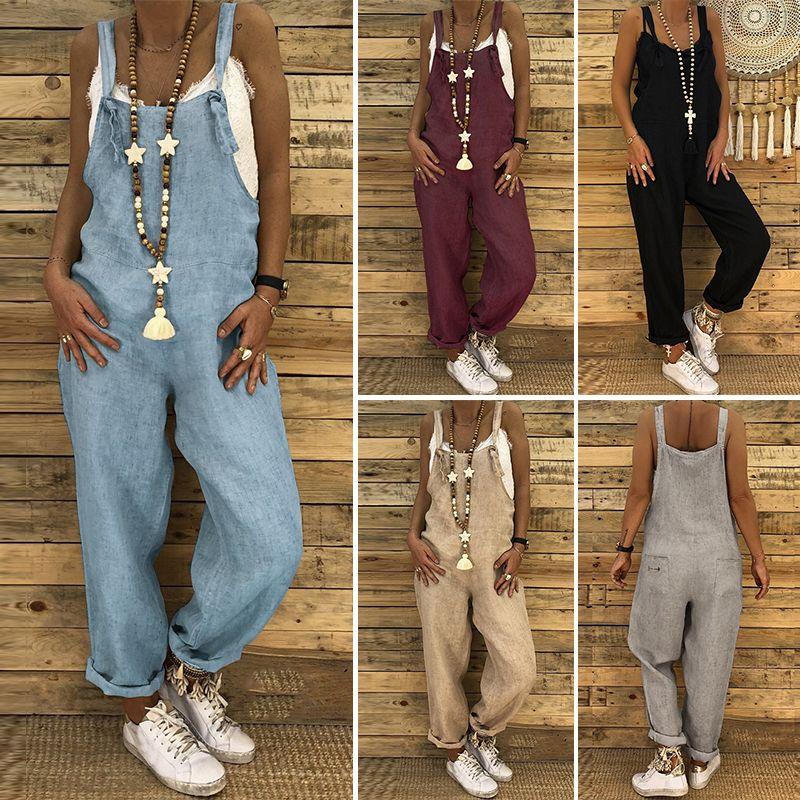9d375dbc46be9 Plus Size Linen Overalls 2019 wholesale Vintage Casual Dungarees Jumpsuits  Women Long Rompers Female Harem Pants Trousers