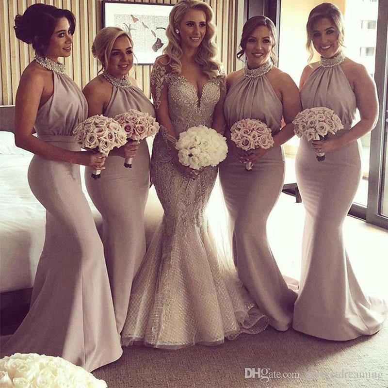 db8fb7a4609b 2019 Champagne Mermaid Bridesmaid Dresses Chiffon Pleats Formal Gowns  Beaded Halter Maid Of Honor Dresses Backless Wedding Guest Gowns Unique  Bridesmaids ...