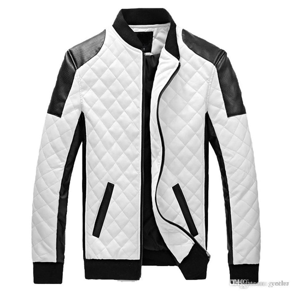 6e10b098cca New Design Men s Jacket Winter Autumn PU Leather Black White Fashion ...