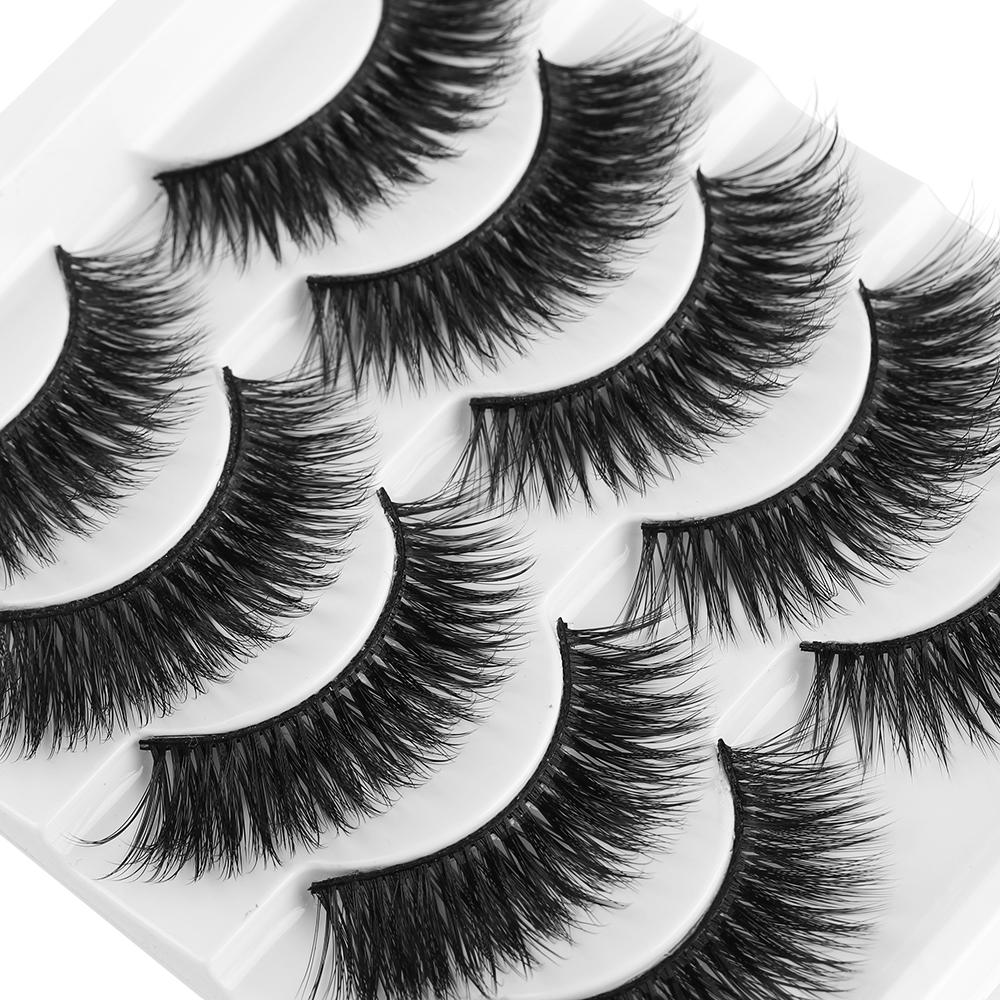 NEW 5 Pairs/Pack 6D Soft Mink Hair False Eyelashes Natural/Thick Long Eye Lashes Wispy Makeup Beauty Extension Tools Wimpers