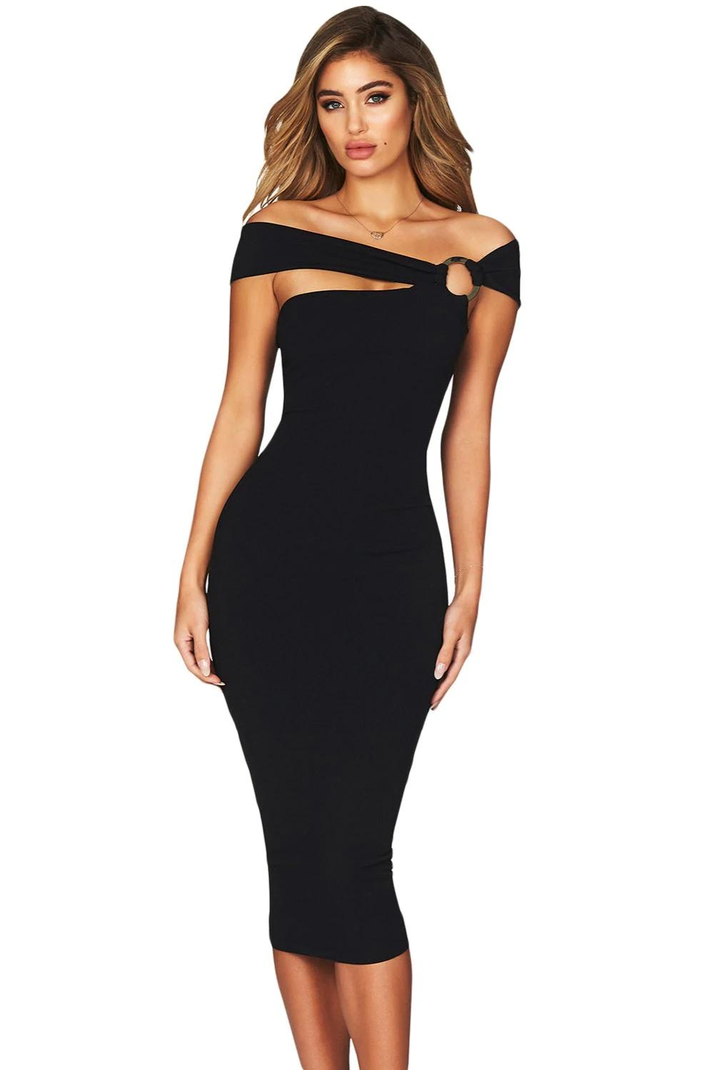 1a1397afd1da0 New Summer Dress 2019 Women Sexy Slim Club Black Elegant Off Shoulder  Bodycon Midi Party Dress Vestidos De Festa Lc610561