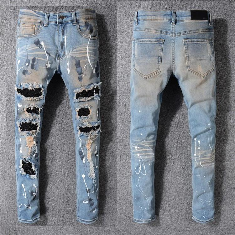 Brand Jeans Mens Distressed Ripped Biker Jeans Slim Fit Motorcycle Biker Denim New Arrived Designer Pants Hip Hop Mens Jeans