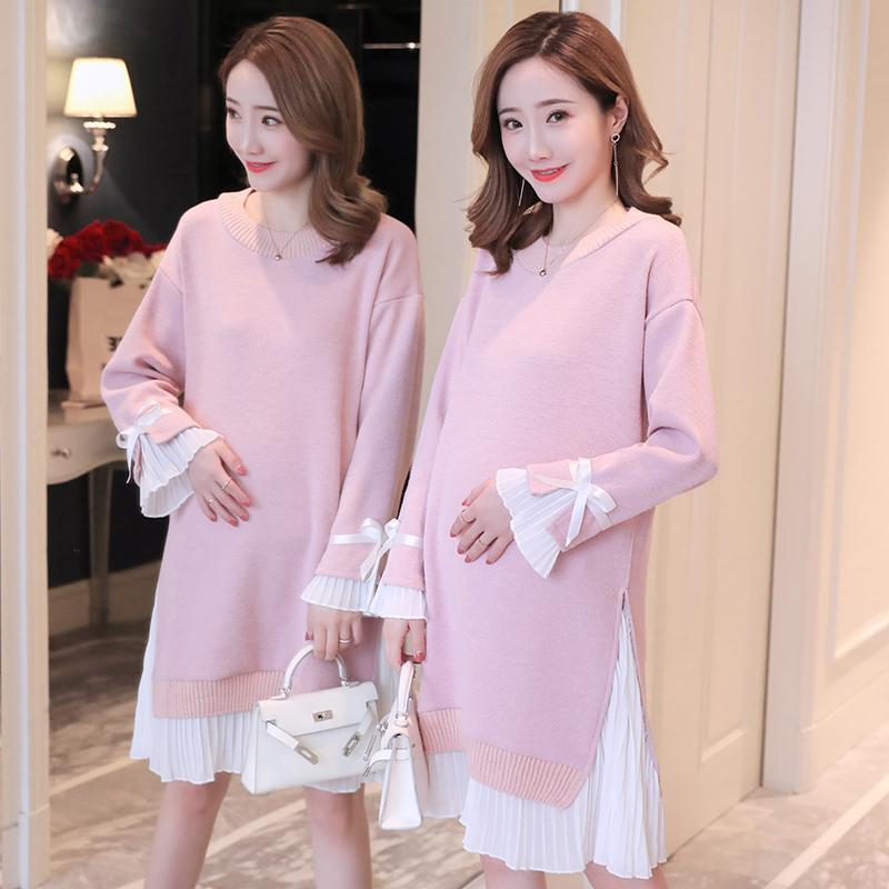 90d97a70a3ac5 Satın Al Hamile Kadınlar Elbise Sonbahar Sahte Iki Adet Uzun Kollu Triko Analık  Elbiseler Moda Kış Zarif Hamile Giyim, $34.29   DHgate.Com'da
