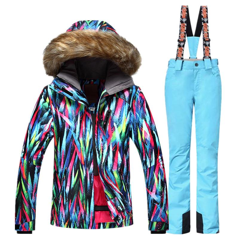 2018 Windproof Breathable Ski Sets Women Waterproof Skiing Jacket ... a7afddcf8