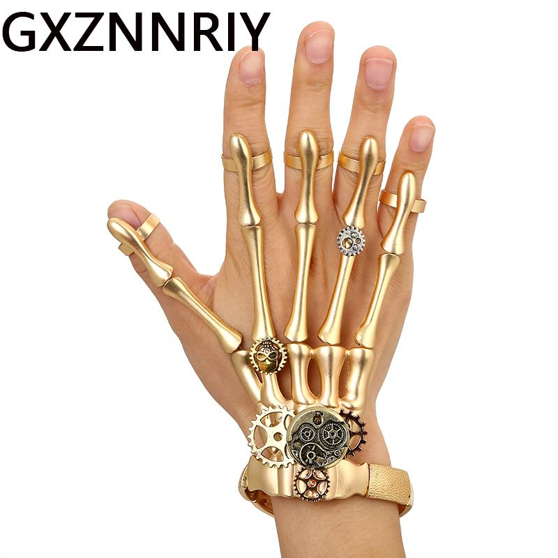 Armreifen Mode Gold Punk Armbänder Armreifen Für Frauen Zubehör Schädel Skeleton Hand Elastische Steampunk Armband Armreif Männer Schmuck Geschenk