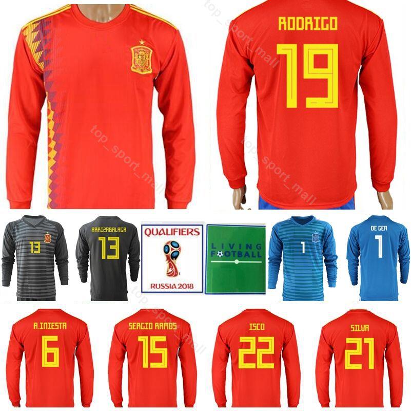 b19851ed9 2019 Spain Long Sleeve Jersey Soccer 2018 World Cup 6 INIESTA Football  Shirt Kits 15 SERGIO RAMOS 21 SILVA 22 ISCO 19 DIEGO COSTA From  Top sport mall