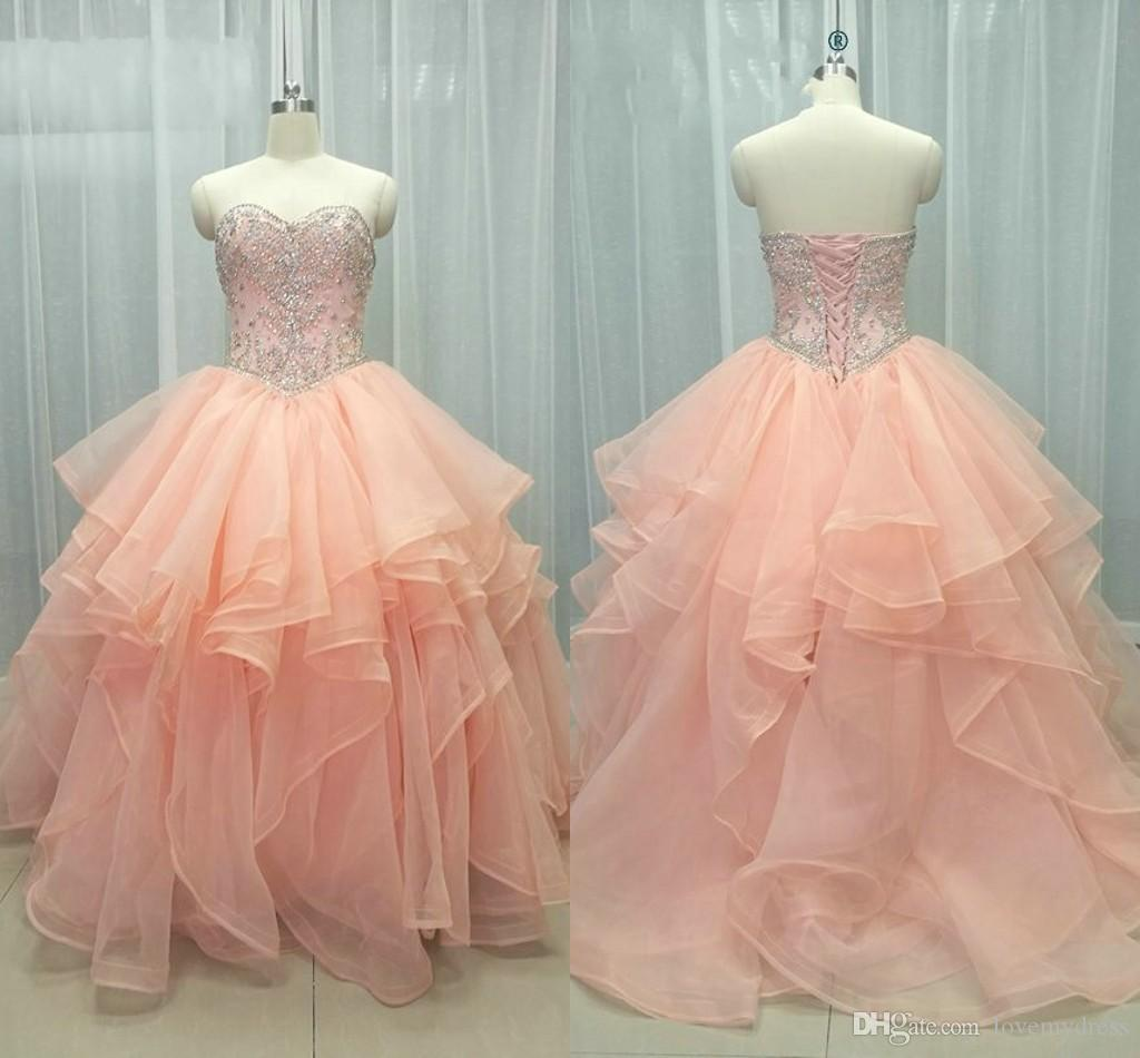 23994318c1 2019 New Light Coral Quinceanera Prom Dresses With Ruffles Organza  Strapless Lace Up Crystal Beading Party Graduation Dress Celebrity Gowns 15  Dress Aqua ...