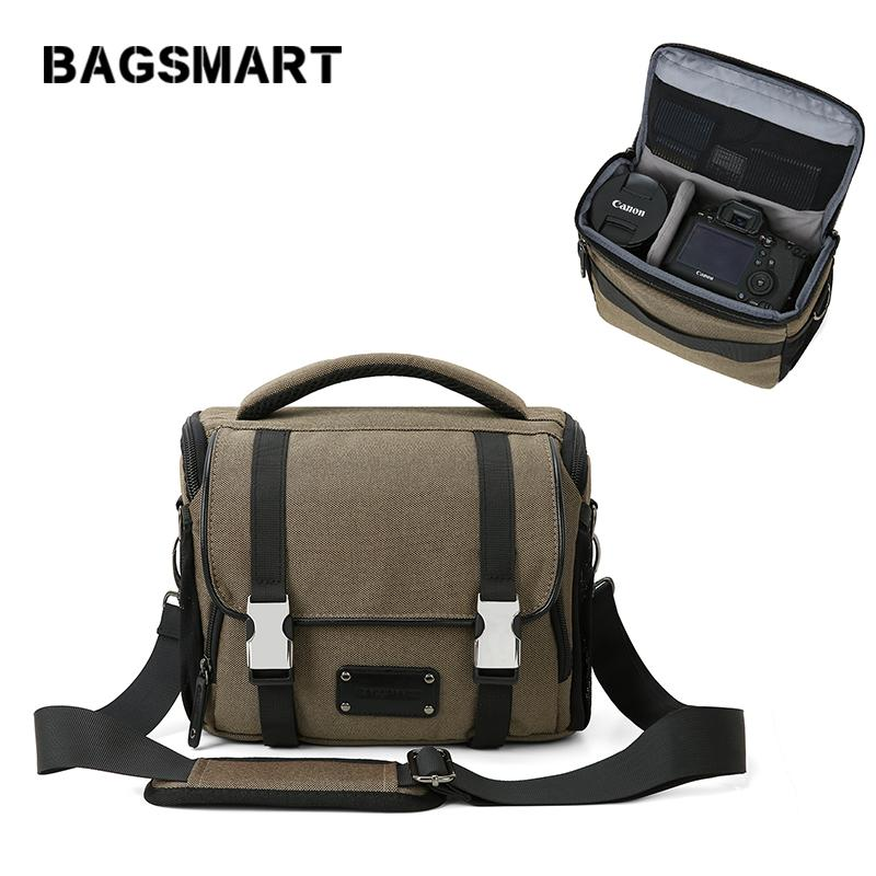 BAGSMART Waterproof Camera Bag with Rain Cover DSLR/SLR Camera Shoulder Bag for Canon Nikon Sony Compact Lens Pouch