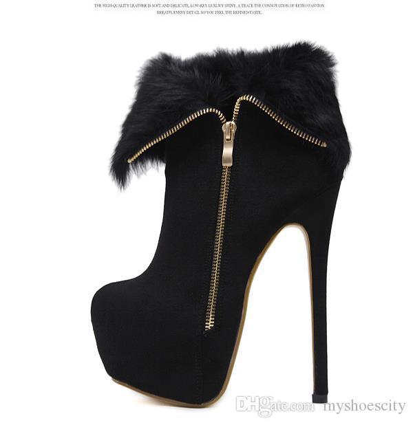 16cm côté chaud Zip fourrure noire plate-forme Ultra High Heels femmes Bottines venir avec Dimensions de la boîte 34 à 40