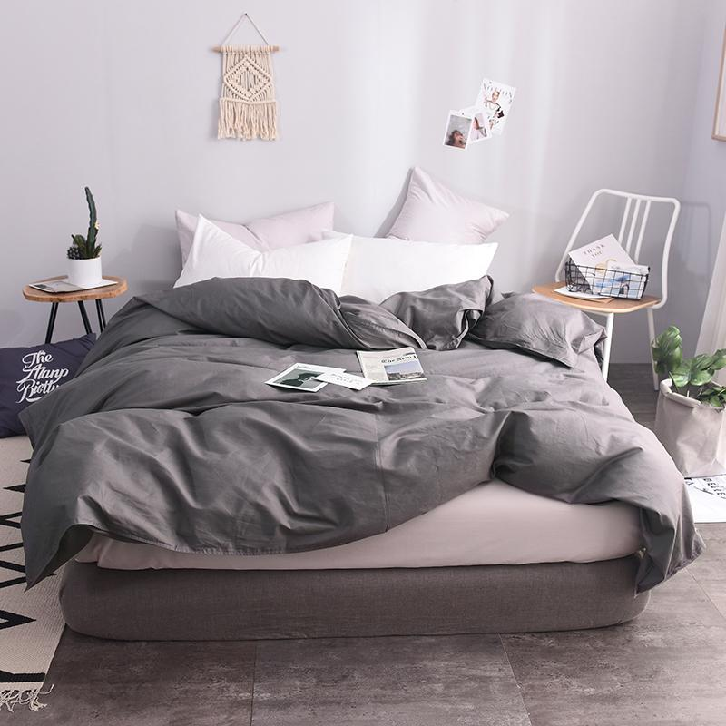 2019 100 Cotton European Style Dark Gray Solid Color Duvet Cover