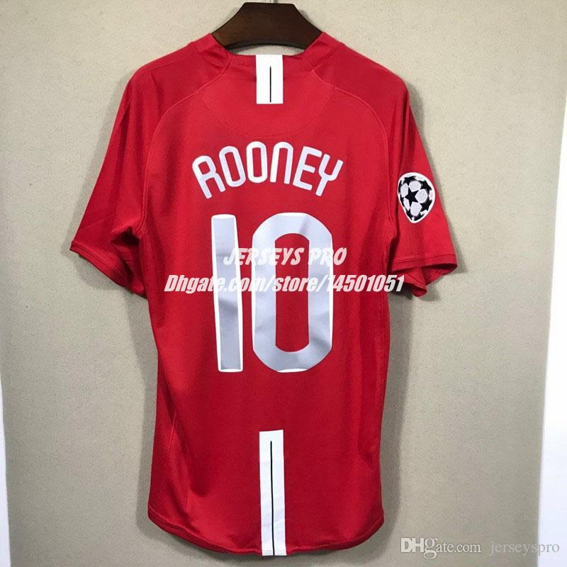 Wayne Rooney Old Trafford 2007 2008 07 08 Champions League Final Home Retro  Soccer Jerseys Camiseta Football Shirts Maglia Maillot De Foot UK 2019 From  ... d162a84de20df