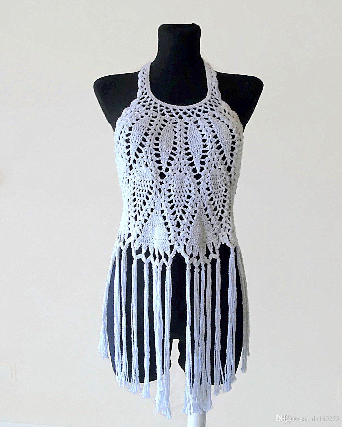 2019 Halter Crop Top Crochet Fringe Top Boho Hippie White Crochet