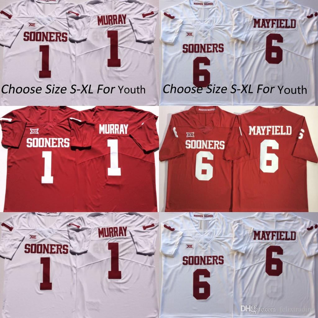 buy online 1bc10 8a5bb Men Youth Kids Oklahoma Sooners #1 Kyler Murray #6 Baker Mayfield College  Football Jersey Free Shipping