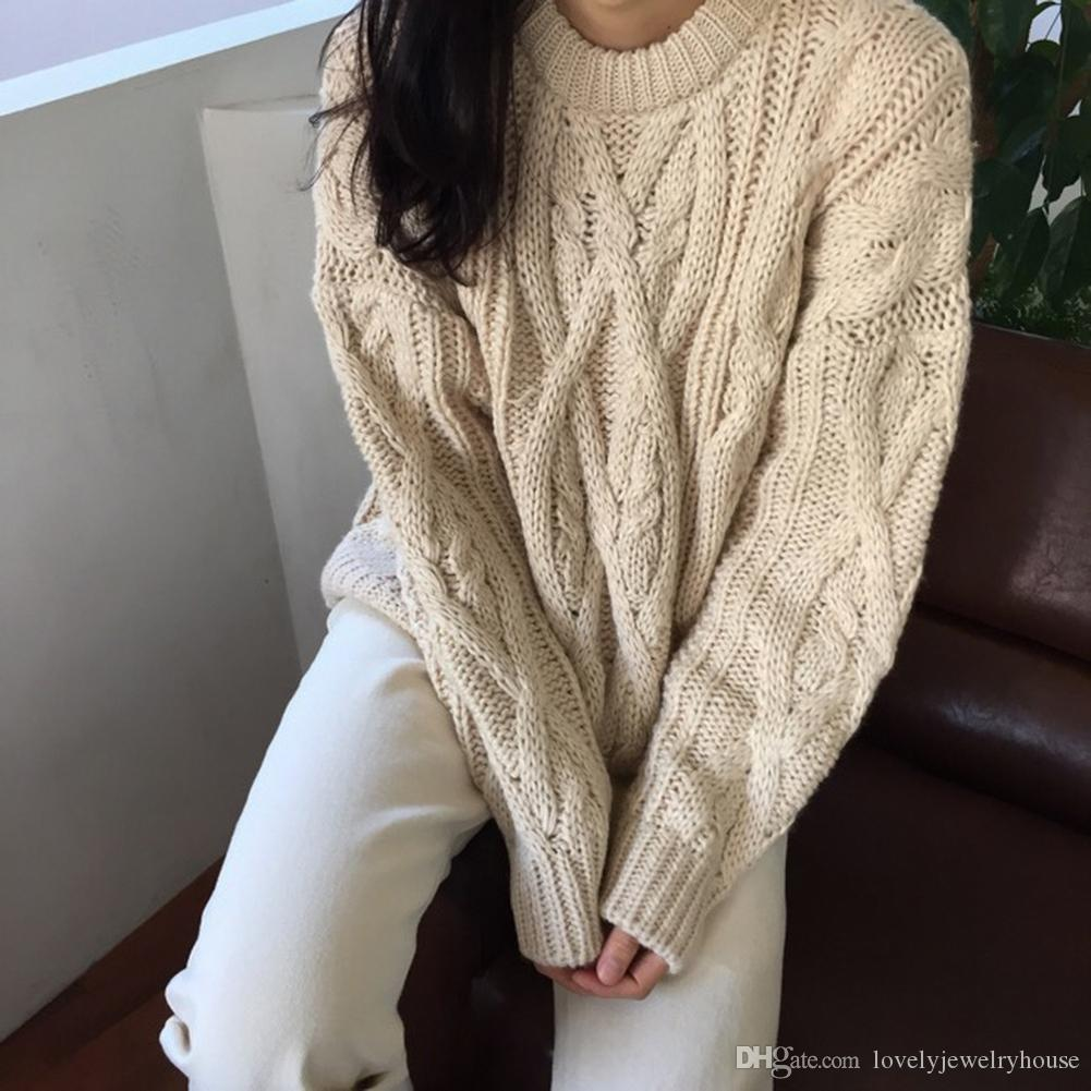 2019091028 Women's Casual Sweaters Japanese Kawaii Ulzzang Chic Pullover Twist Sweater Female Korean Harajuku Cute Clothing For Women