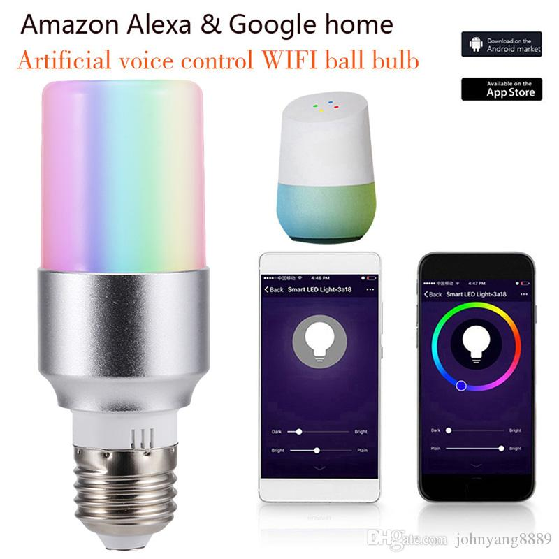 E27 B22 E14 Smart WiFi Lampadina LED Lampada APP Telecomando 7W RGB Magic Light Bulb Connettiti con Amazon Alexa Google