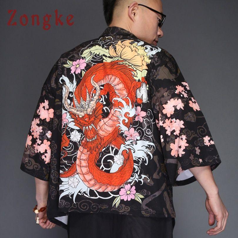 86262cb16e0 Zongke Japanese Kimono Cardigan Men Dragon Print Long Kimono Cardigan Men  Black Mens Jacket 2018 Summer