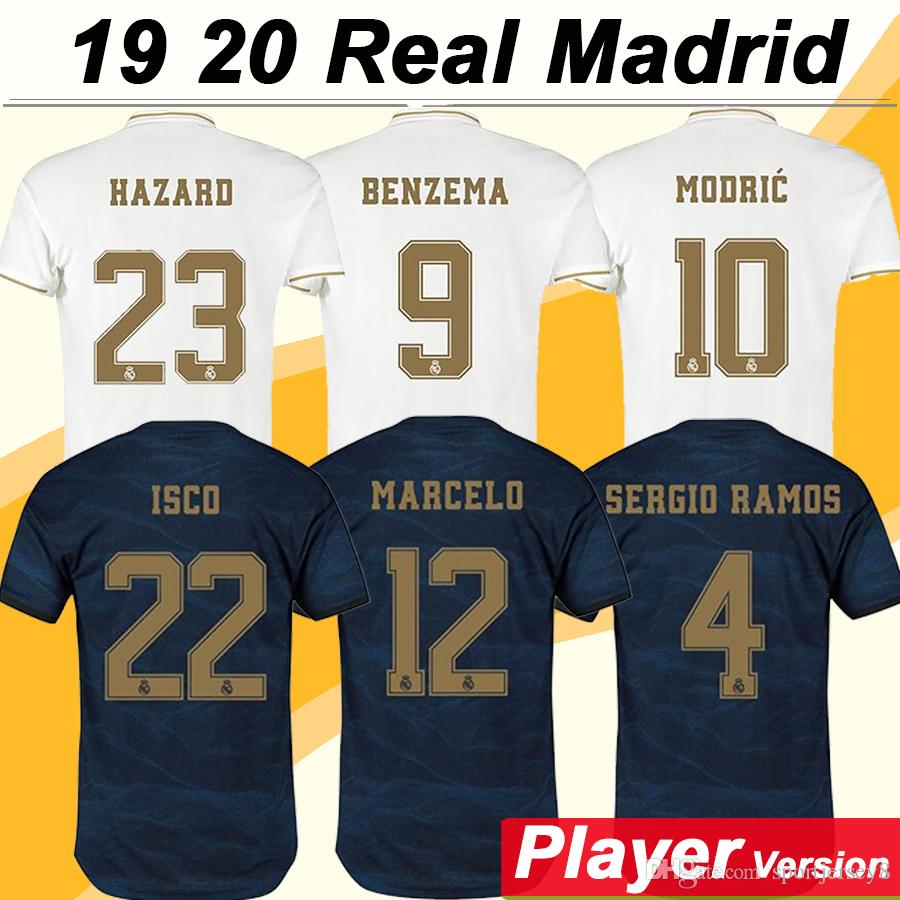 2019 20 HAZARD BENZEMA KROOS Player Version Home Mens Soccer Jerseys ISCO BALE MARCELO MARIANO Football Shirts SERGIO RAMOS MODRIC Uniforms