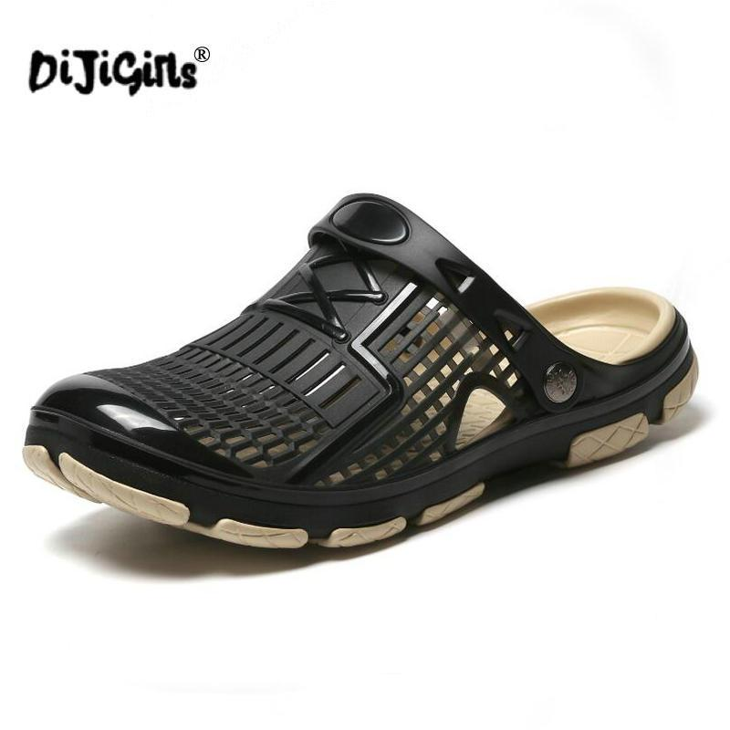 3ebbb2527 New Jelly Shoes Men Beach Sandals Hollow Slippers Men Flip Flops Light  Sandalias Outdoor Summer Shoes Chanclas Sandals Drop Ship Wedge Booties  Saltwater ...