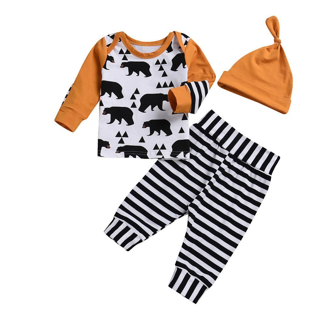 wholesale 2019 Bear Newborn Kid Baby Boy Girl 3pcs Clothes Jumpsuit Romper Long Pants Hat Outfit