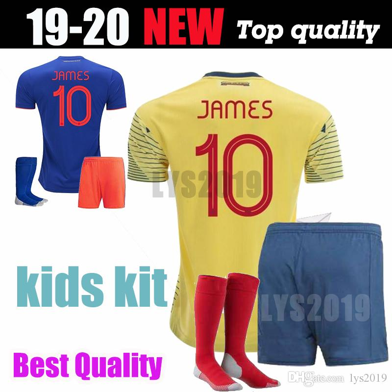 8ba5e9d04b6 2019 2019 Colombia Soccer Jersey Colombia Home Yellow Soccer Shirt 2018  10  JAMES  9 FALCAO  11 CUADRADO Thai Away Blue Football Uniform From Lys2019