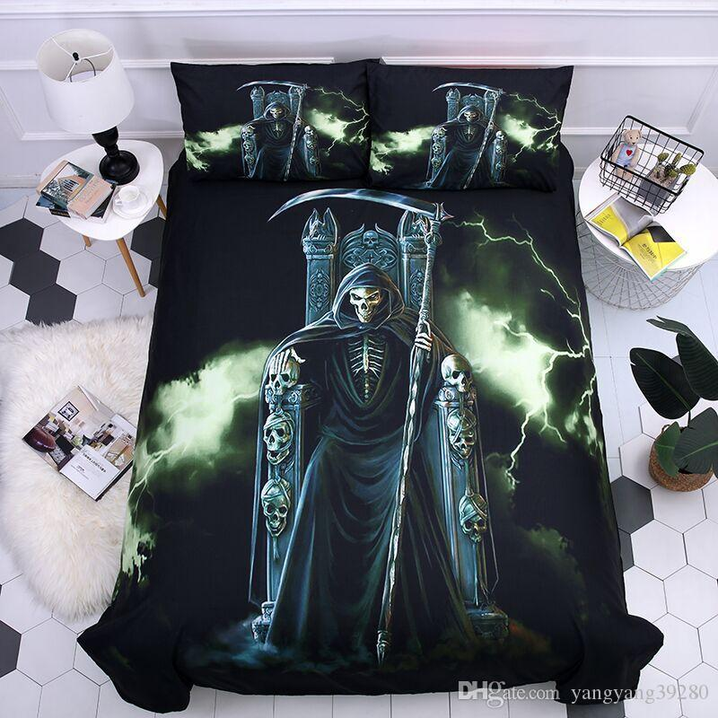 Coll New Arrival 2019 Black Skull duvet set new bedding set king queen size bedding supplies