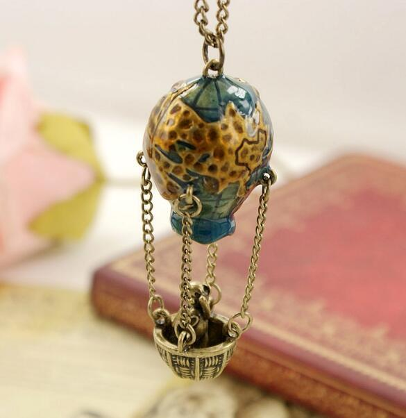 345ab2ed5996 Fashion Jewelry hot air balloon Pendant Necklace bear Travel Around Earth  Statement Long Chain Necklaces For Man Women Bronze Plated Girl