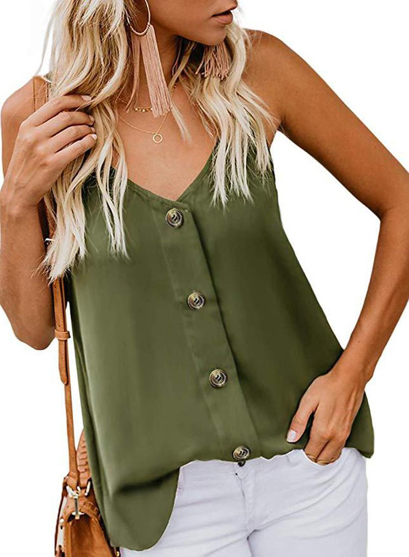 Sleeveless T-Shirt Women Sexy Button V-neck Halter T-Shirt Tank Tops Hollow Out T-Shirt Vest Size (S-2XL) 9163